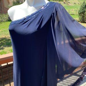 Betsy & Adam Navy One Shoulder Sequin Dress